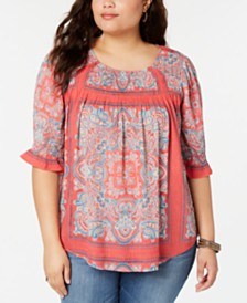 Lucky Brand Plus Size Square Neck Smocked Top