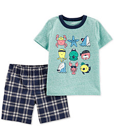 Carter's Baby Boys 2-Pc. Graphic-Print T-Shirt & Plaid Shorts Set