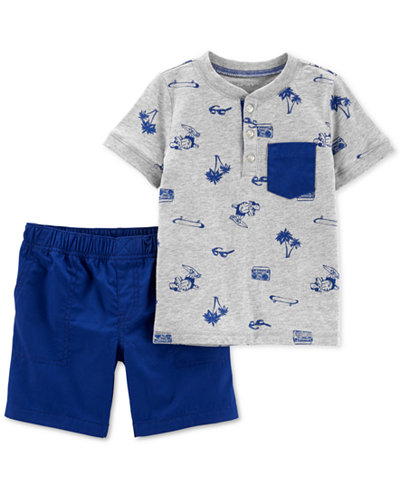 Carter's Baby Boys 2-Pc. Cotton Printed T-Shirt & Shorts Set