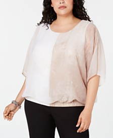 Alfani Plus Size Smocked-Bottom Dolman Top, Created for Macy's