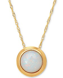 "Opal Birthstone 18"" Bezel Pendant Necklace in 14k Gold"