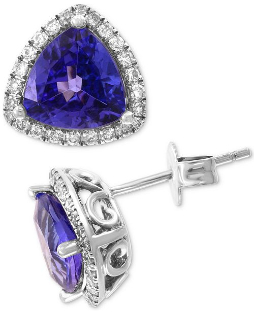EFFY Collection EFFY® Tanzanite (3 ct. t.w.) & Diamond (3/8 ct. t.w.) Halo Stud Earrings in 14k White Gold