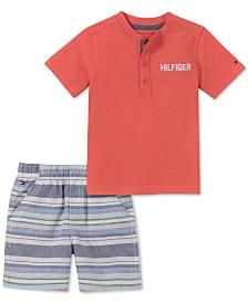 Tommy Hilfiger Baby Boys 2-Pc. Henley Shirt & Striped Shorts Set