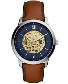 Fossil Men's Neutra Brown Leather Strap Watch 44mm