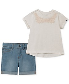 Calvin Klein Little Girls 2-Pc. Embellished T-Shirt & Denim Shorts Set