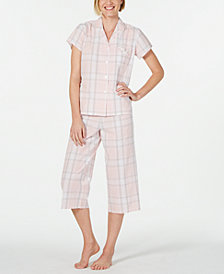 Miss Elaine Notch Collar Top and Cropped Pants Plaid Seersucker Pajama Set