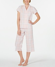 Miss Elaine Notch Collar Top and Cropped Pants Plaid Seersucker Pajama Set