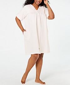 Plus Size Smocked Waffle-Knit Zip Robe