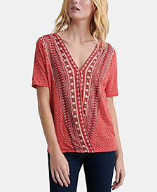 Lucky Brand Printed Faux-Wrap Top