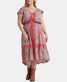 Lucky Brand Plus Size Felice Border-Print Dress