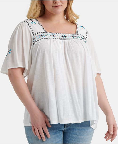 Lucky Brand Plus Size Embroidered Peasant Top