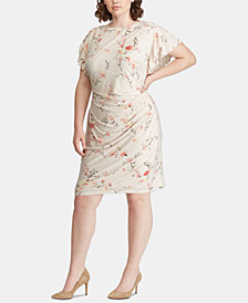 Lauren Ralph Lauren Plus Size Floral-Print Ruched Dress
