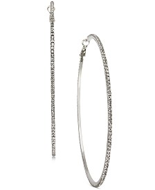 Thalia Sodi Silver-Tone Pavé Large Hoop Earrings, Created for Macy's