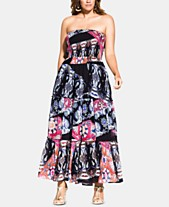 e3ef112b79a City Chic Trendy Plus Size Bilbao Printed Smocked Maxi Dress