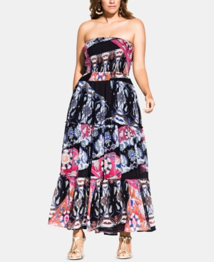 City Chic Dresses TRENDY PLUS SIZE BILBAO PRINTED SMOCKED MAXI DRESS