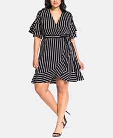 City Chic Trendy Plus Size Striped Wrap Dress
