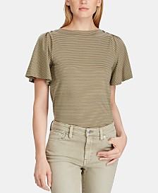 Lauren Ralph Lauren Petite Flutter-Sleeve Cotton Top