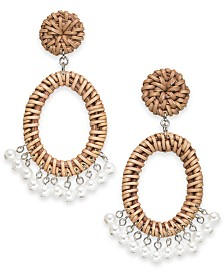 I.N.C. Silver-Tone Rattan & Imitation Pearl Drop Earrings, Created for Macy's