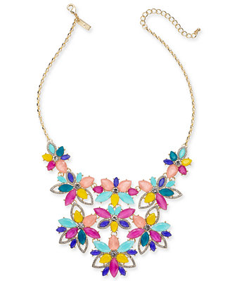 """I.N.C. Gold Tone Crystal & Stone Flower Statement Necklace, 17"""" + 3"""" Extender, Created For Macy's by General"""