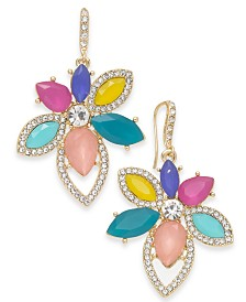I.N.C. Gold-Tone Crystal & Stone Flower Drop Earrings, Created for Macy's