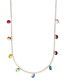 "I.N.C. Gold-Tone Crystal Rainbow Shaky Statement Necklace, 16"" + 3"" extender, Created for Macy's"