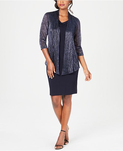 Connected Petite Drape-Neck Dress & Metallic Jacket