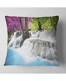 "Designart 'Erawan Waterfall' Photography Throw Pillow - 16"" x 16"""
