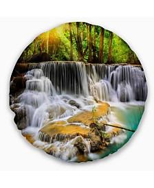 "Designart 'Kanchanaburi Province Waterfall' Photography Throw Pillow - 16"" Round"