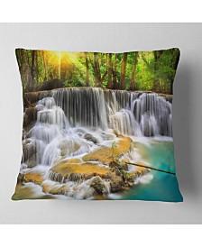 "Designart 'Kanchanaburi Province Waterfall' Photography Throw Pillow - 26"" x 26"""