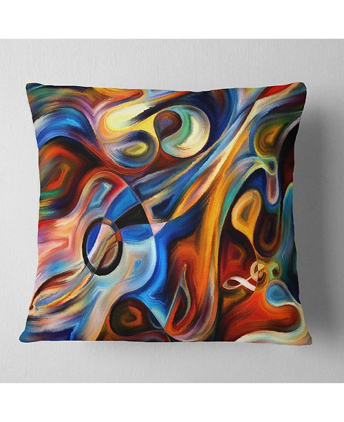"Design Art Designart 'Abstract Music and Rhythm' Abstract Throw Pillow - 16"" x 16"""
