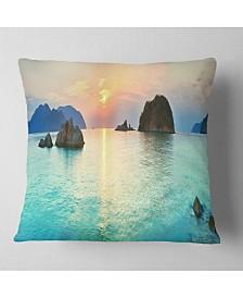 """Designart 'Sunrise Panorama' Photography Throw Pillow - 26"""" x 26"""""""