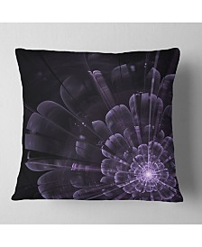 "Designart 'Glowing Crystal Purple Fractal Flower' Floral Throw Pillow - 16"" x 16"""