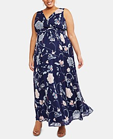 Plus Size Printed Wrap Dress