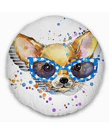 """Designart 'Cute Puppy With Blue Glasses' Animal Throw Pillow - 20"""" Round"""