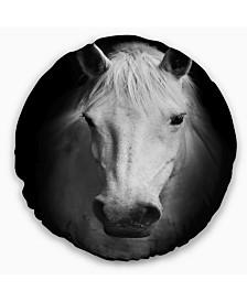 """Designart 'White Horse Black and White' Animal Throw Pillow - 20"""" Round"""