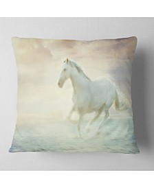 """Designart 'Fantasy White Horse' Animal Throw Pillow - 26"""" x 26"""""""