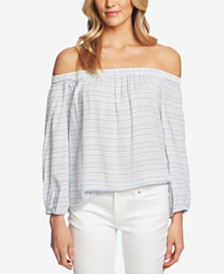 CeCe Off-The-Shoulder Jacquard-Striped Top