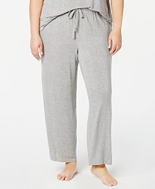 Alfani Plus Size Ribbed Knit Pajama Pants, Created for Macy's