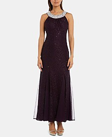 Nightway Petite Embellished Glitter Lace Gown