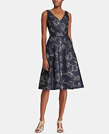 Lauren Ralph Lauren Metallic Floral-Print Dress