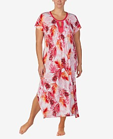 Ellen Tracy Printed Pom-Pom Trim Caftan Nightgown