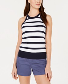 Maison Jules Striped Sweater-Knit Halter Top, Created for Macy's