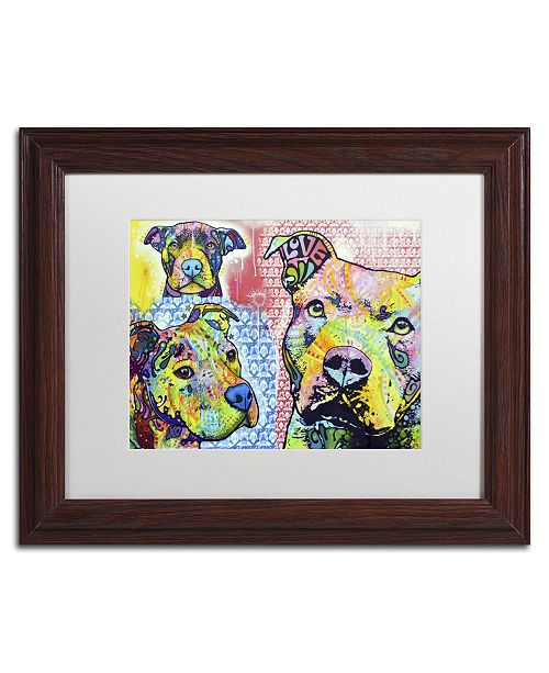 """Trademark Global Dean Russo 'Thoughtful Pit Bull Part 3' Matted Framed Art - 14"""" x 11"""" x 0.5"""""""