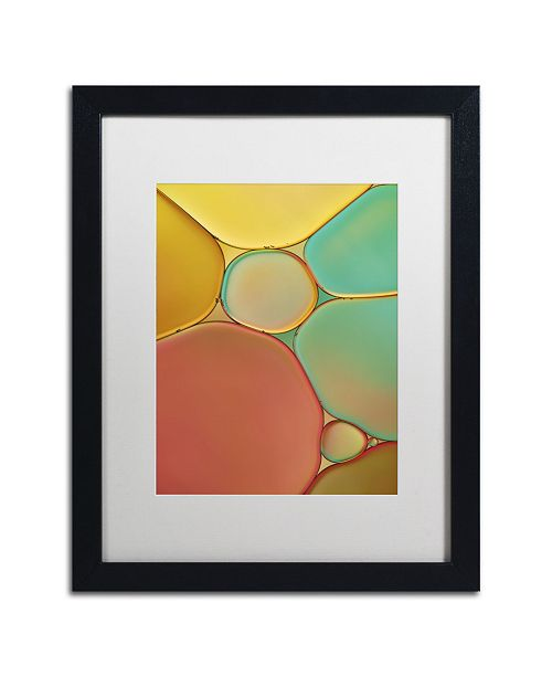 """Trademark Global Cora Niele 'Red Yellow and Green Drops' Matted Framed Art - 16"""" x 20"""" x 0.5"""""""