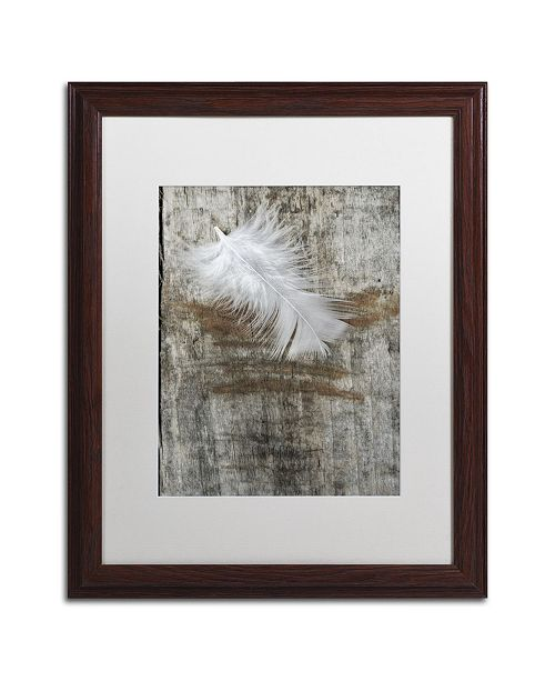 "Trademark Global Cora Niele 'White Feather on Wood' Matted Framed Art - 20"" x 16"" x 0.5"""