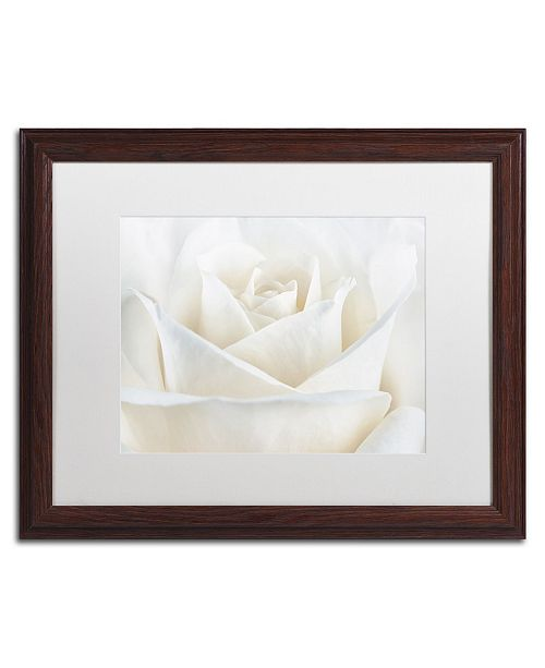 "Trademark Global Cora Niele 'Pure White Rose' Matted Framed Art - 20"" x 16"" x 0.5"""