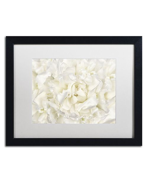 "Trademark Global Cora Niele 'White Peony Flower' Matted Framed Art - 16"" x 20"" x 0.5"""