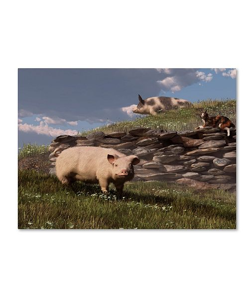 "Trademark Global Daniel Eskridge 'Free Range Pigs' Canvas Art - 32"" x 24"" x 2"""
