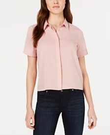 French Connection Pleated-Sleeve Button-Up Blouse