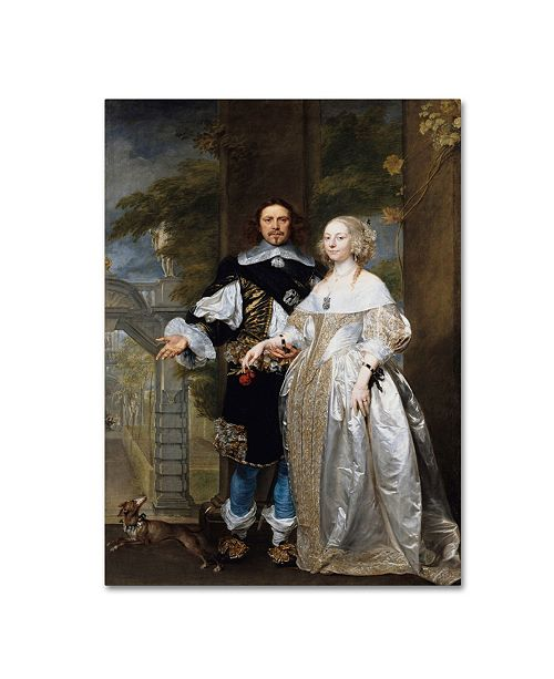 "Trademark Global Coques 'Portrait Of A Married Couple In The Park' Canvas Art - 32"" x 24"" x 2"""